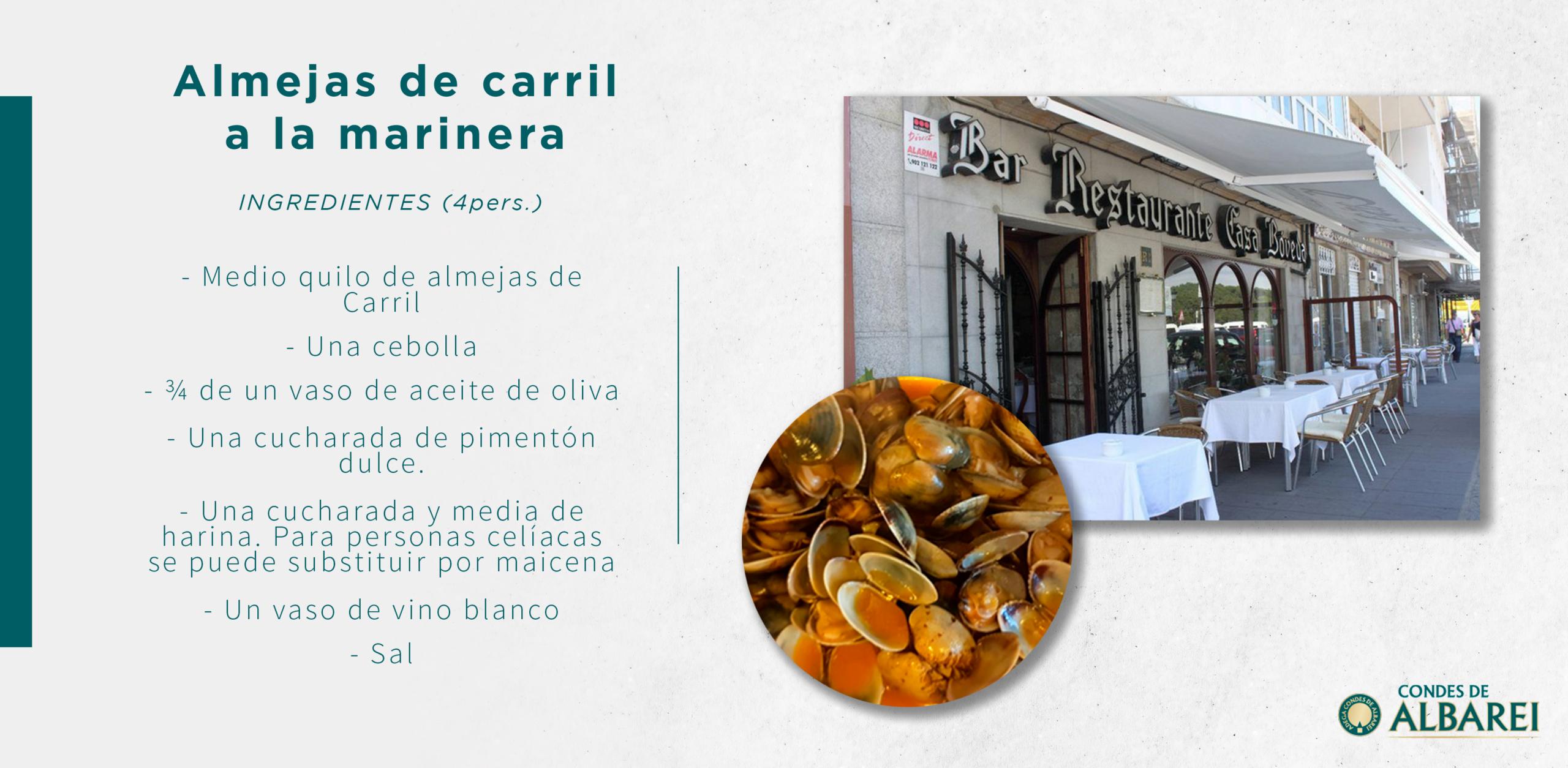 Cocina Albarei Casa Bóveda - Deliciosas almejas de Carril a la marinera